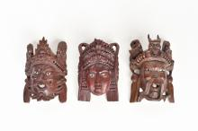 SET OF 3 CARVED WOODEN MASKS