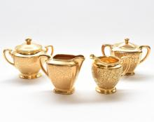 SET OF 4 PCS 22KT GOLD CHINA TEA SET