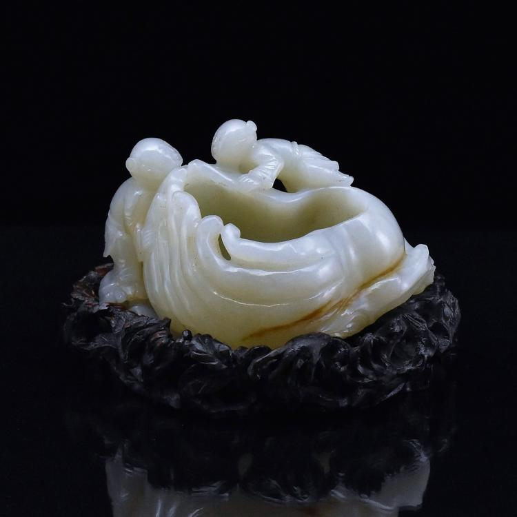 CARVED JADE BUDDHA HAND CITROEN BRUSH WASHER