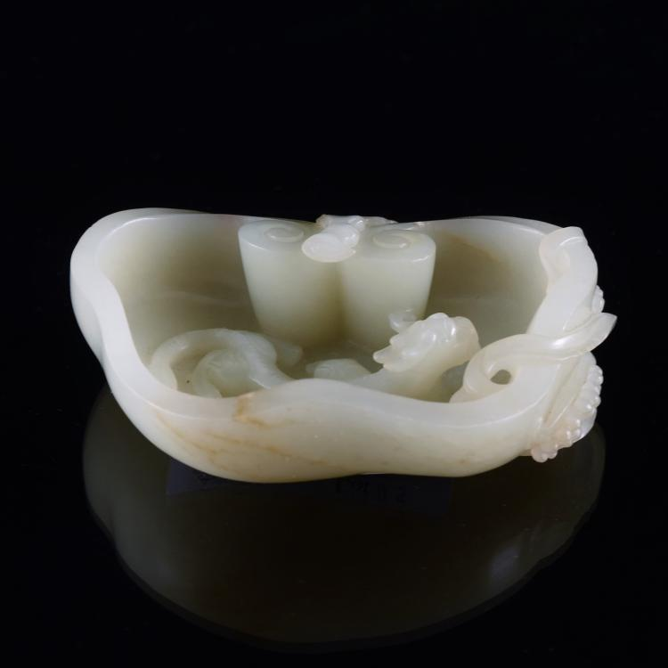 A WHITE JADE BRUSH WASHER, XI