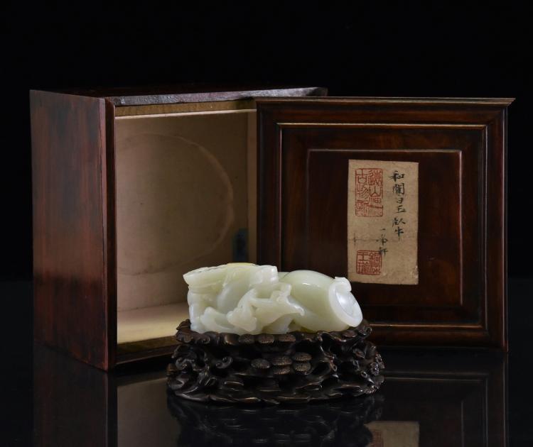 WATER BUFFALO WHITE JADE SCULPTURE IN ORIGINAL BOX