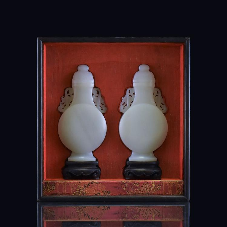 PAIR OF JADE COVERED URN IN ORIGINAL BOX