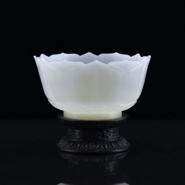 PALE CELADON JADE 'LOTUS' MARRIAGE BOWL