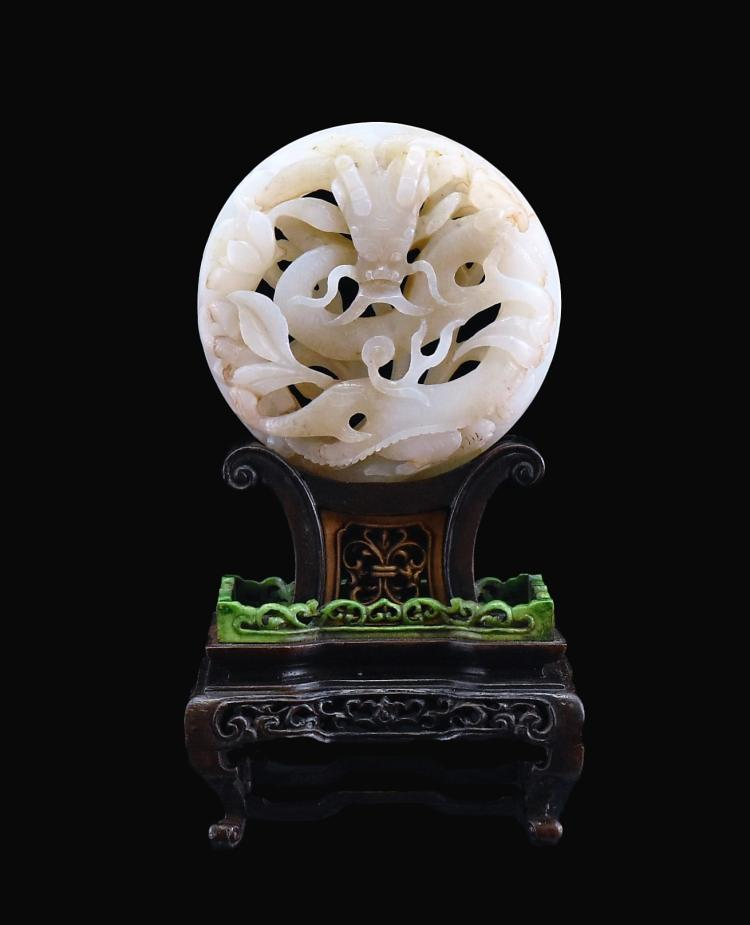 DRAGON JADE MEDALLION TABLE SCREEN