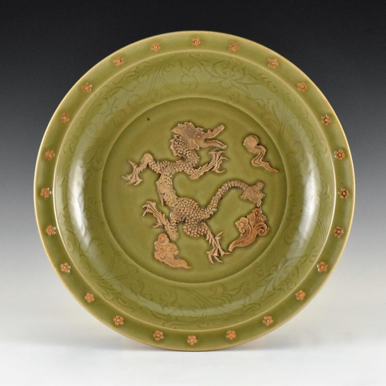 MING SPRIGGING RED DRAGON LONGQUAN CELADON CHARGER