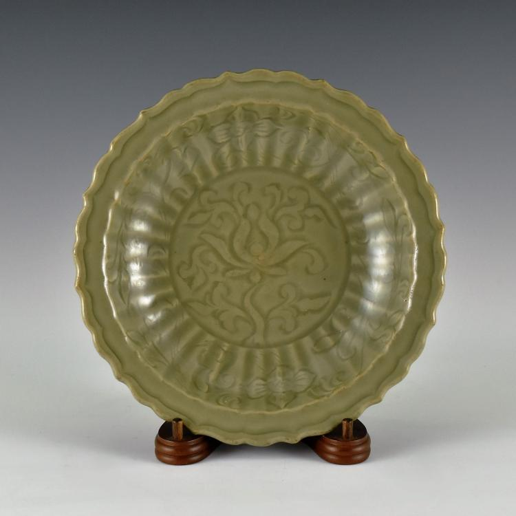 NIGHT LOTUS BLOOMS LONGQUAN CELADON PLATE