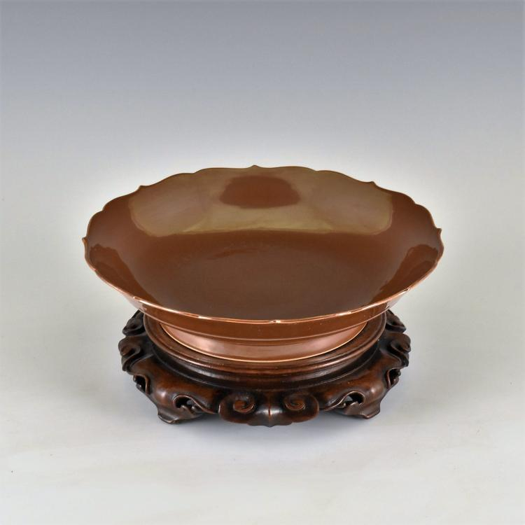 FLORI-FORM PETAL RIM COPPER-RED DISH ON STAND