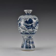 MING HIGH STEM BLUE AND WHITE MEIPING VASE