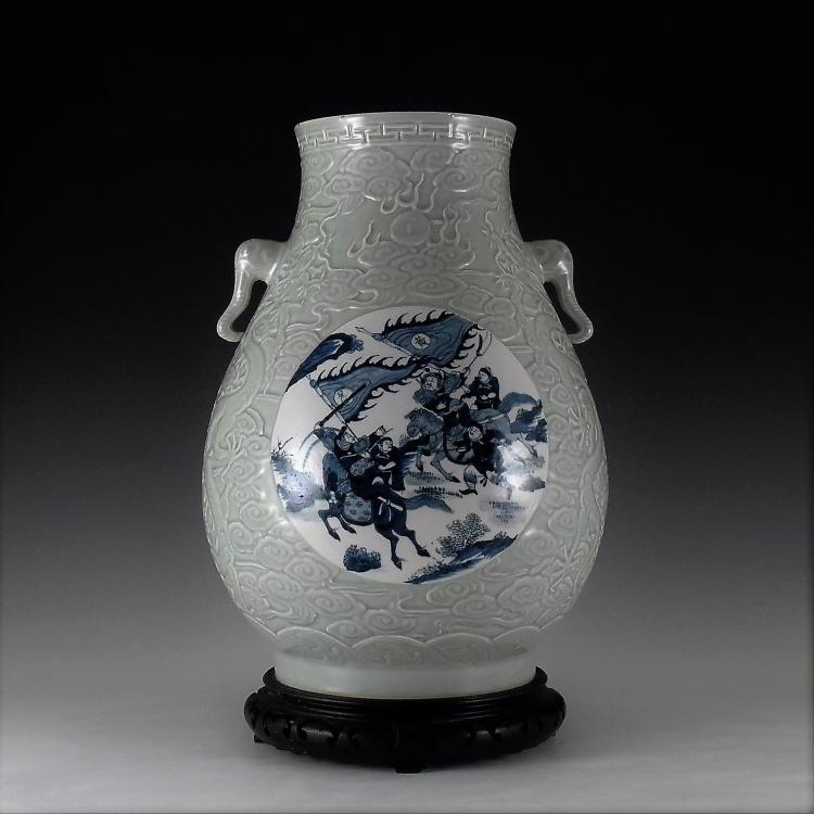BLUE AND WHITE MEDALLION SGRAFIATTO CELADON ZUN VASE