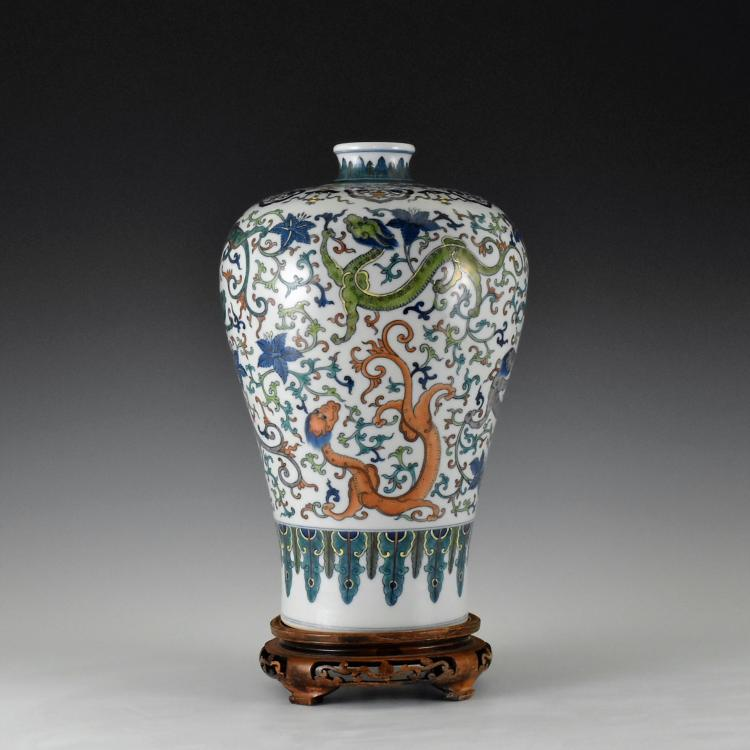 DOUCAI NINE DRAGON MEIPING VASE
