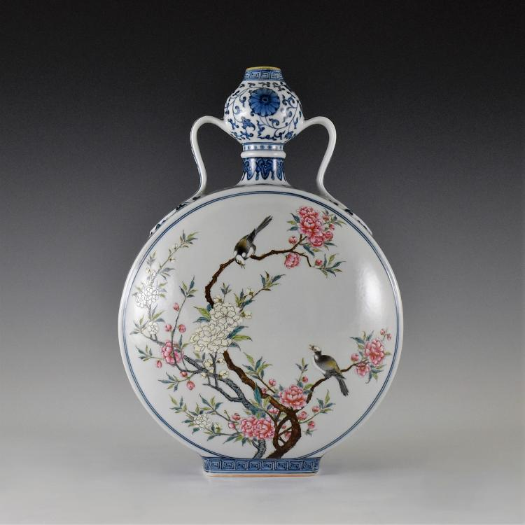 MAGPIE DOUCAI MOONFLASK, BAOYUEPING, QIANLONG MARK