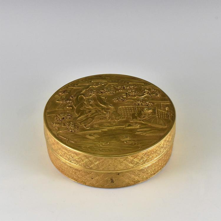 GILT SGRAFFITO LIDDED PORCELAIN CIRCLE TRINKET BOX