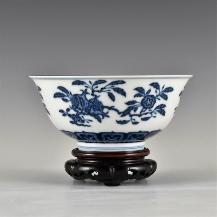 THREE ABUNDANCES BLUE AND WHITE PORCELAIN BOWL ON STAND