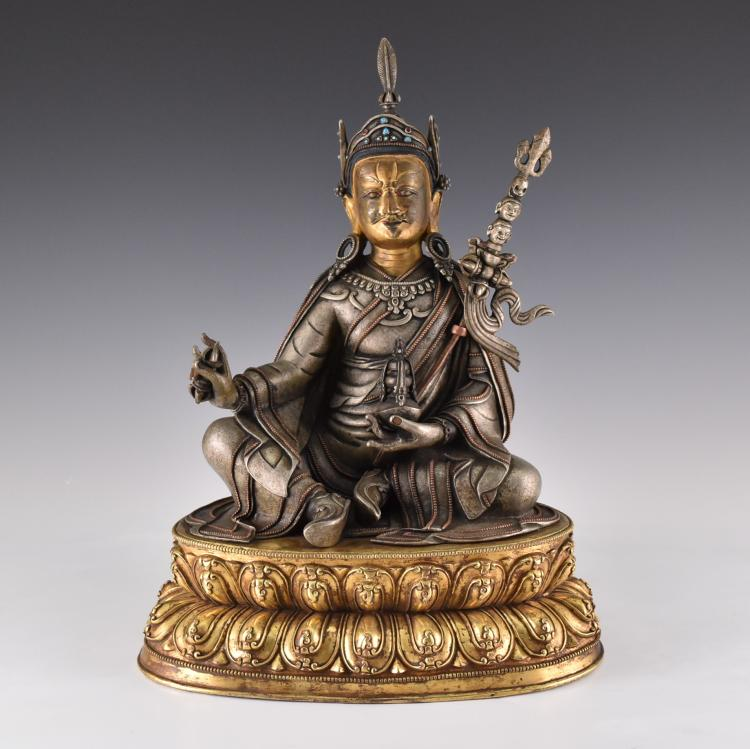 IMPORTANT, RARE 17TH/18TH C. LARGE SILVER GILT BUDDHA,  OF PADMASAMBHAVA