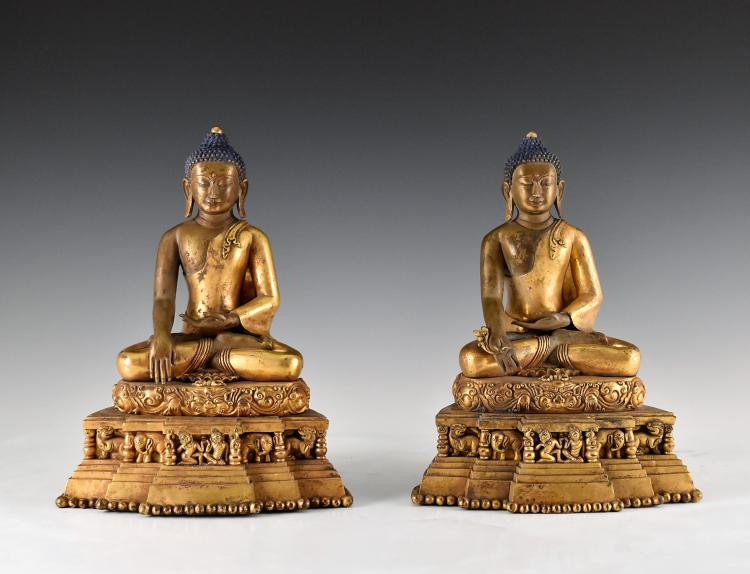 IMPORTANT, SET OF 2 GILT BRONZE SEATED SHAKYAMUNI BUDDHAS