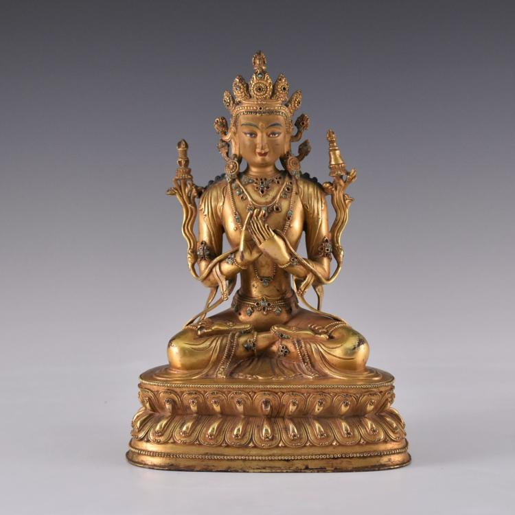 MING GILT BRONZE BUDDHA INLAID FIGURE OF AVALOKITESHVARA