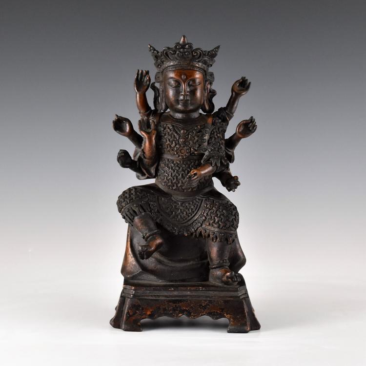 BRONZE BUDDHA FIGURE OF 8 ARMS CUNDI BODHISATTVA
