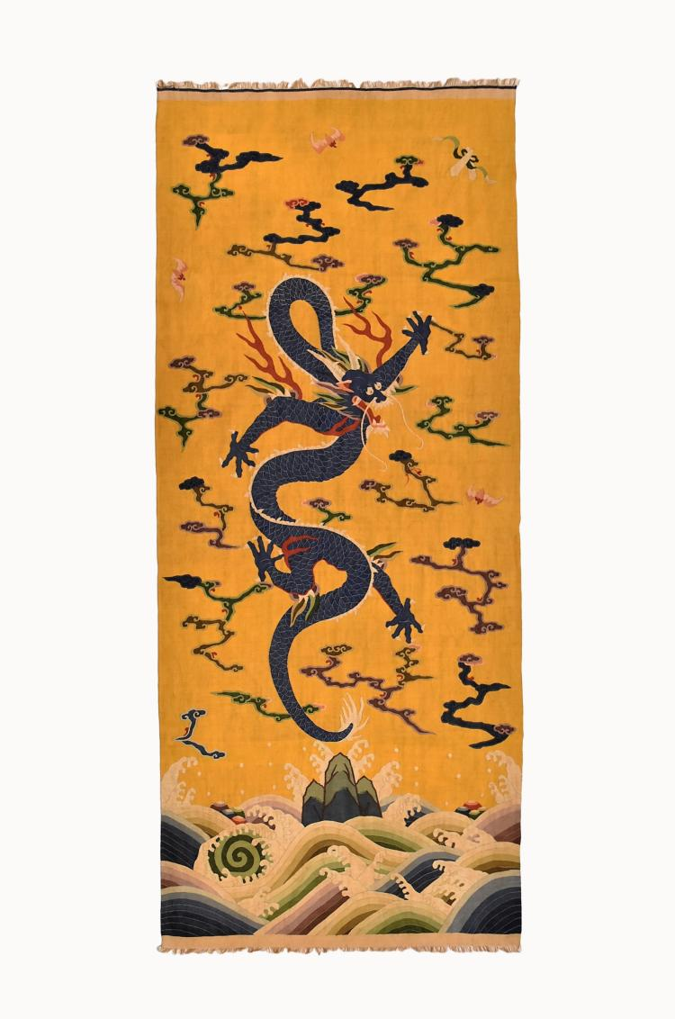 CHINESE SILK KESI, DRAGON MOTIF ON YELLOW GROUND