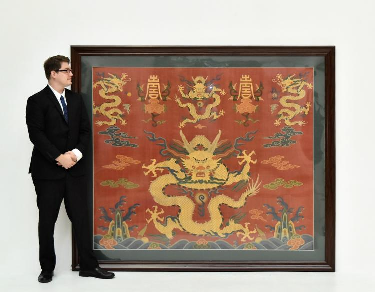 FRAMED SILK KESI, DRAGON MOTIF ON YELLOW GROUND