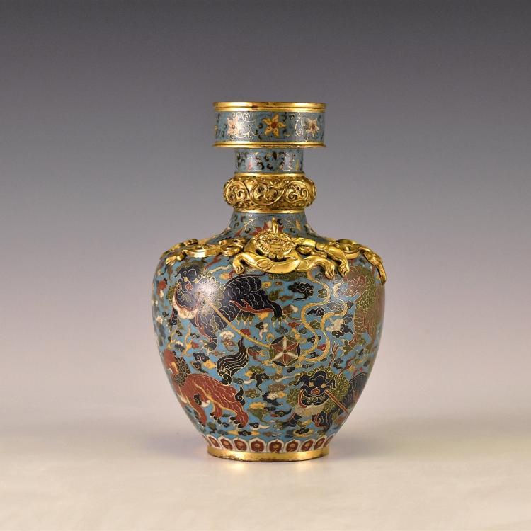 JINGTAI SINGLE HORN DRAGONS CLOISONNE VASE