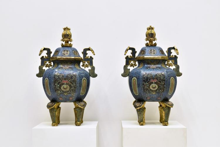 PAIR OF LARGE CLOISONNE COVERED CENSERS