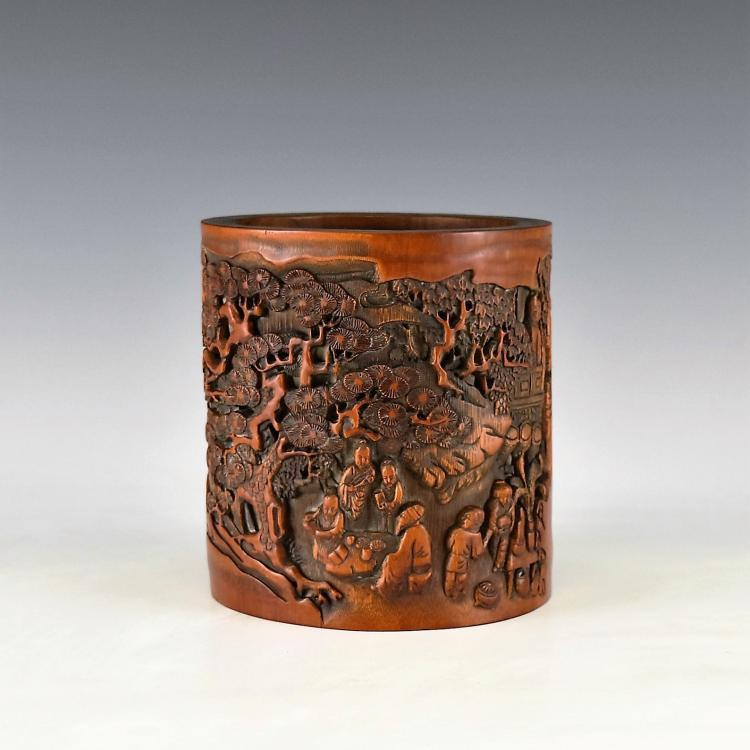 INTRIQUELY CARVED BAMBOO BRUSH POT