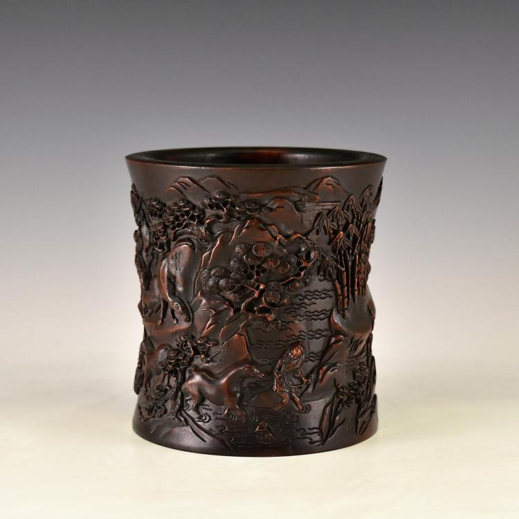 FIGURES AND HORSES CARVED ZITAN BRUSH POT