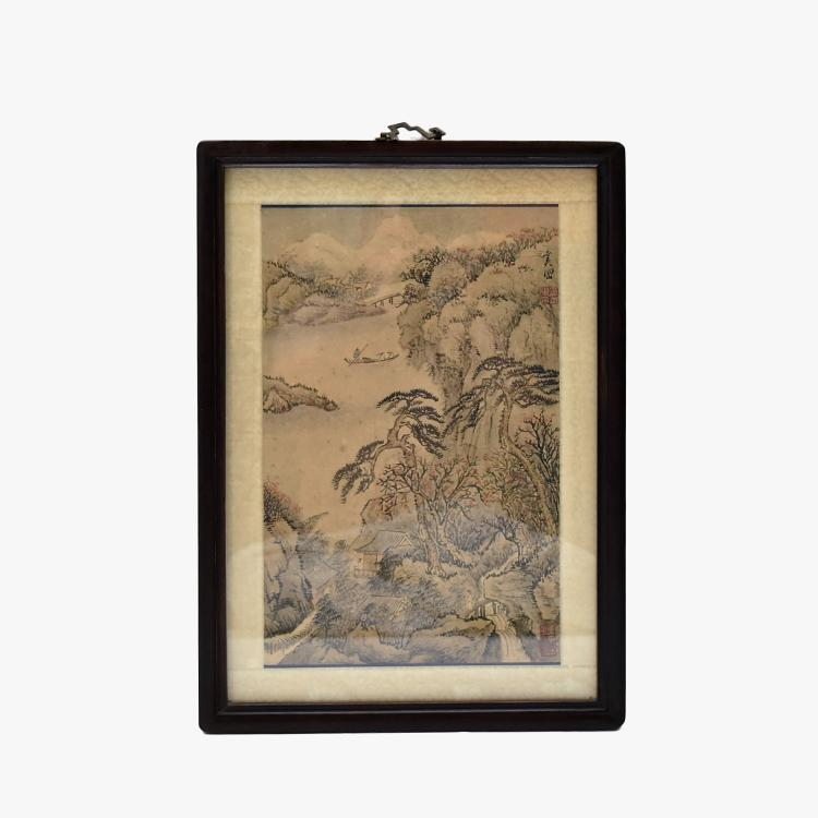 A FRAMED CHINESE PAINTING OF WATERSIDE LANDSCAPE