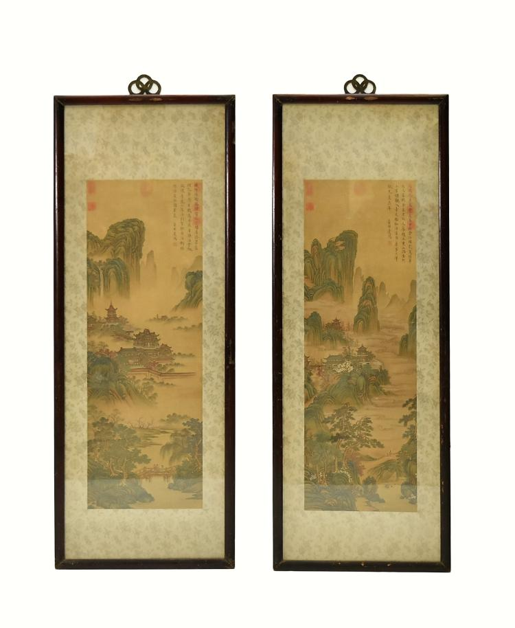 SET OF 2 FRAMED CHINESE PAINTINGS OF LANDSCAPE SCENE