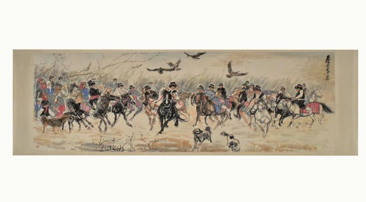 HUANG ZHOU (1925-1997) CHINESE INK AND COLOR PAINTING OF HORSE RIDING