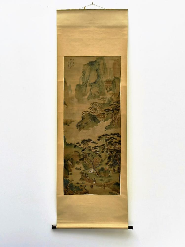 HU XIGUI (1839 - 1883) LANDSCAPE PAINTING OF MUSICAL IN THE FOREST