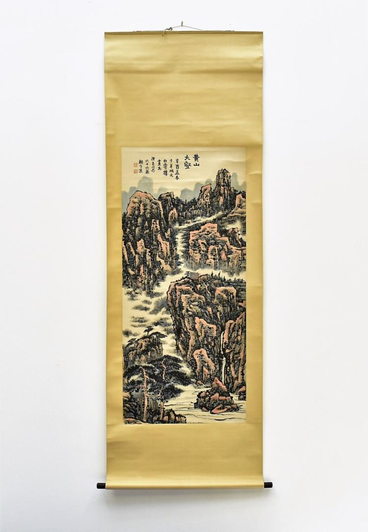 LAI SHAOQI (1915-—2000) BROWNISH GRAISALLE CHINESE LANDSCAPE PAINTING SCROLL
