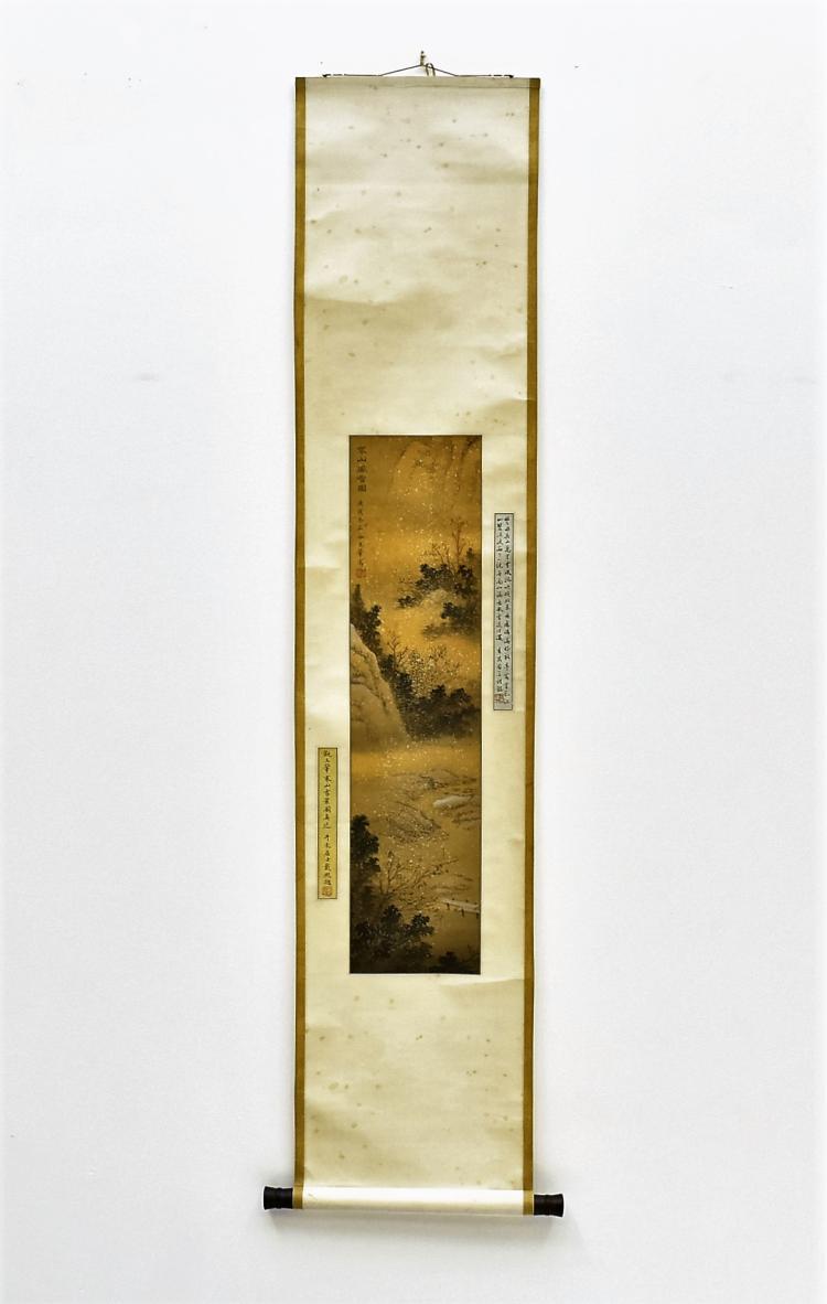 WANG HUI (1632–1717) QING SCROLL PAINTING OF WATERSIDE LANDSCAPE