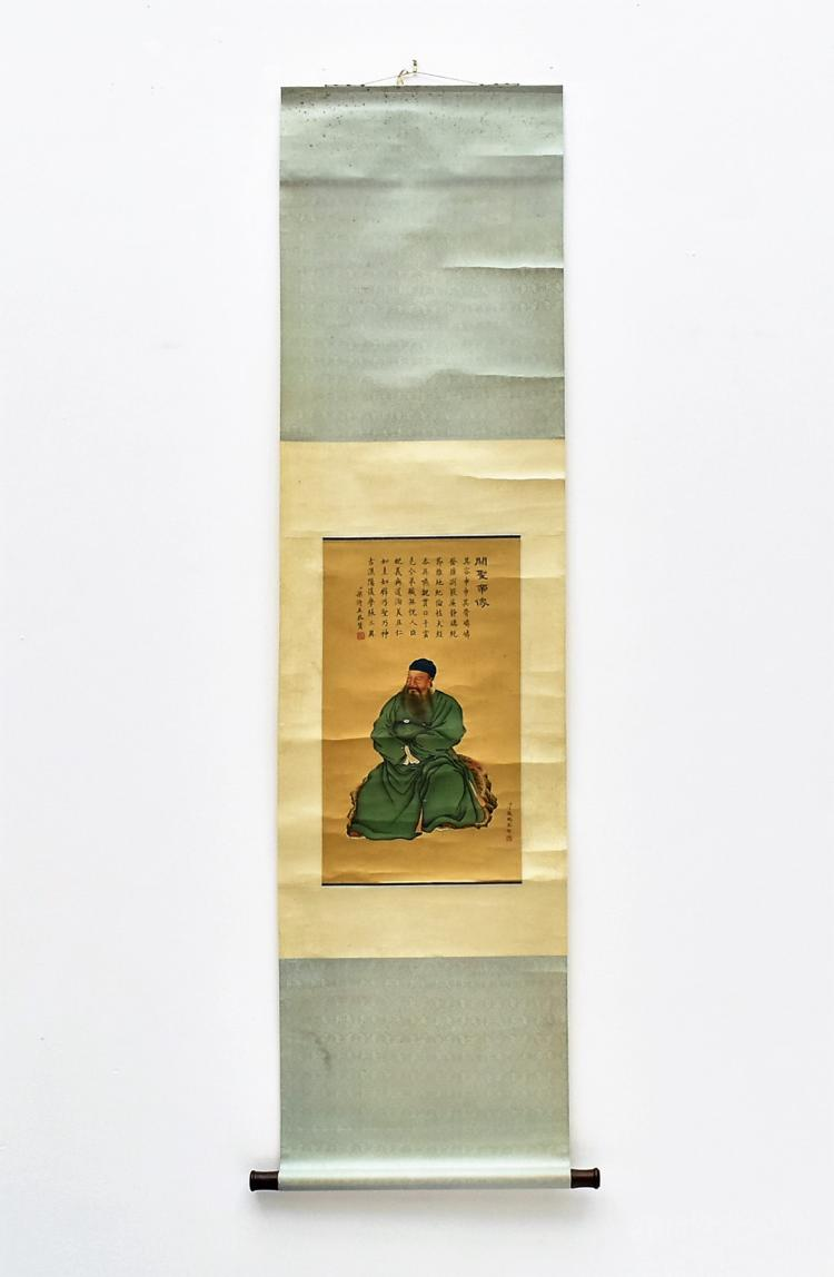 DING GUANPENG (1708-1771) CHINESE QING SCROLL SILK PAINTING OF GUANYU