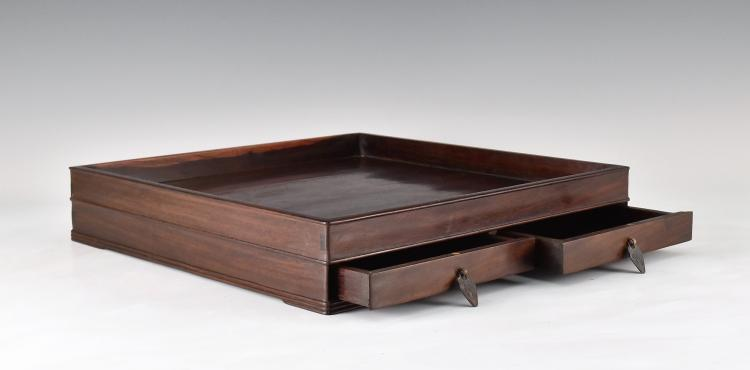 ZITAN WOOD DOUBLE DRAWERS TEA TRAY