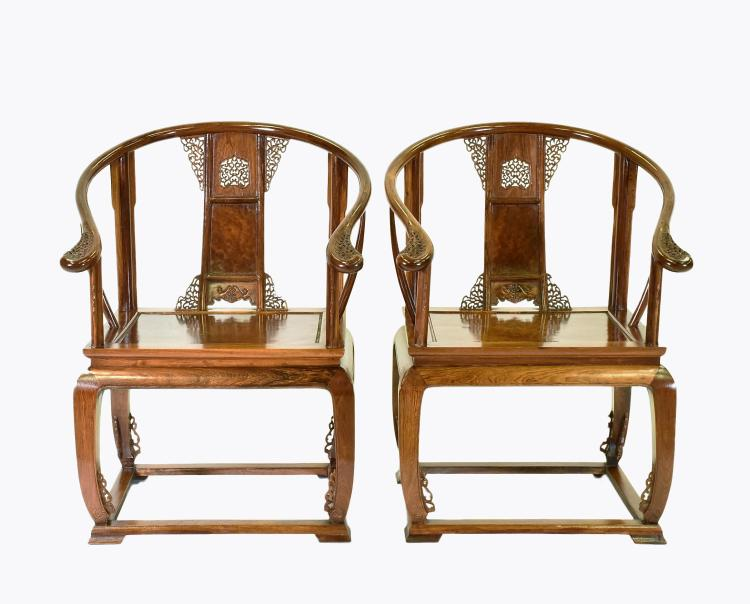 PAIR OF  BURLWOOD SEAT HUANGHUALIROUND CHAIRS