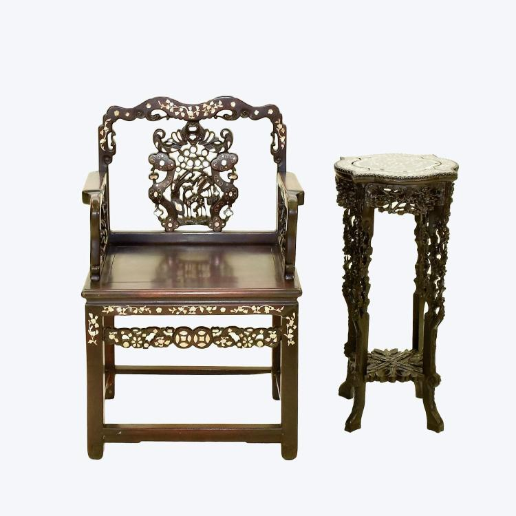 PAIR OF MOP INLAID ROSEWOOD CHINESE ARMCHAIR AND STAND