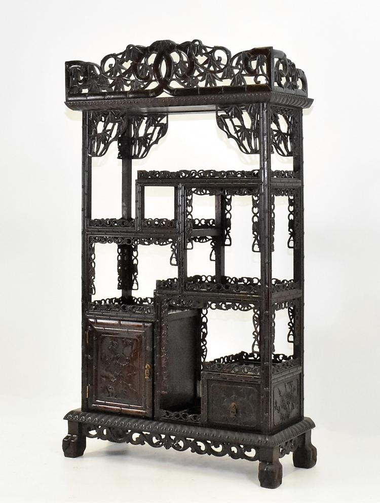 CHINESE EASTERN HARDWOOD CURIO CABINET IN BAMBOO MOTIF