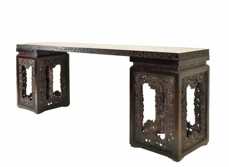 A RARE ZITAN DEMOUNTABLE CHINESE LONG SIDE TABLE