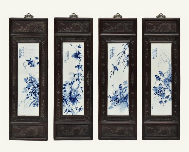 SET OF 4 PCS PORCELAIN PAINTING FRAMED WALL PLAQUE