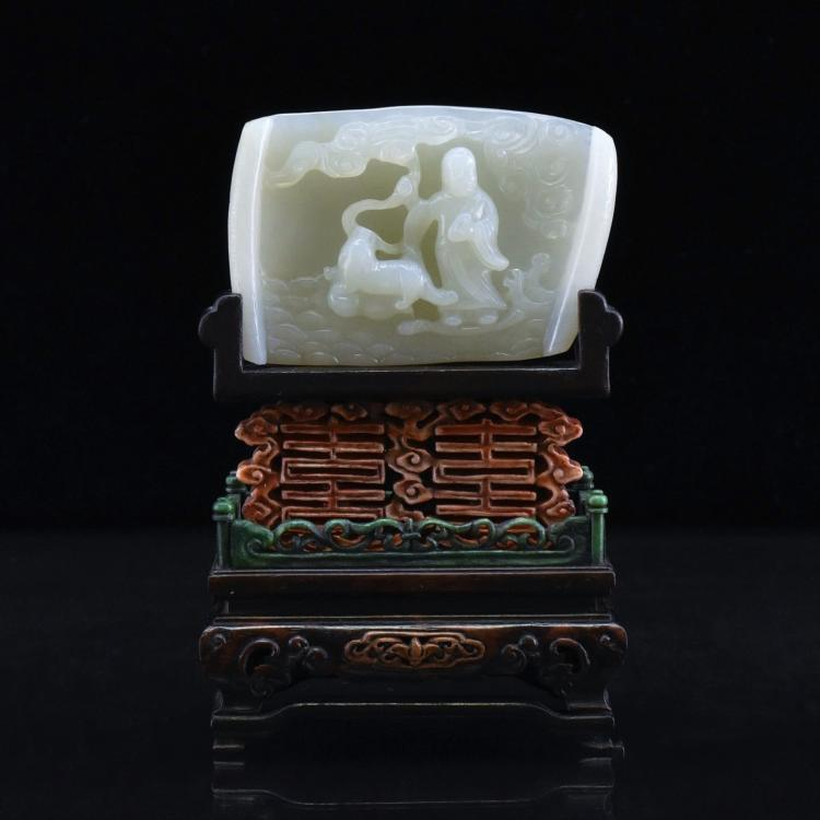 CHINESE WHITE JADE TABLE SCREEN ON WOODEN FRAME