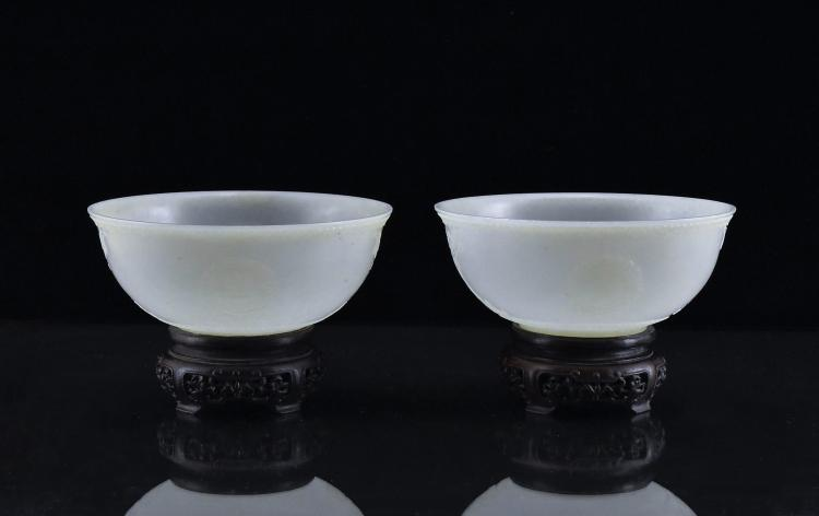 PAIR OF FORTUNE & WISHES MEDALLION JADE BOWLS ON STANDS