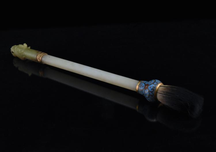 JADE AND CLOISONE ENAMEL SCHOLLAR BRUSH