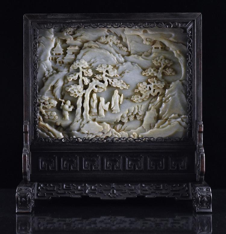 FRAMED GRAYISH CELADON JADE TABLE SCREEN