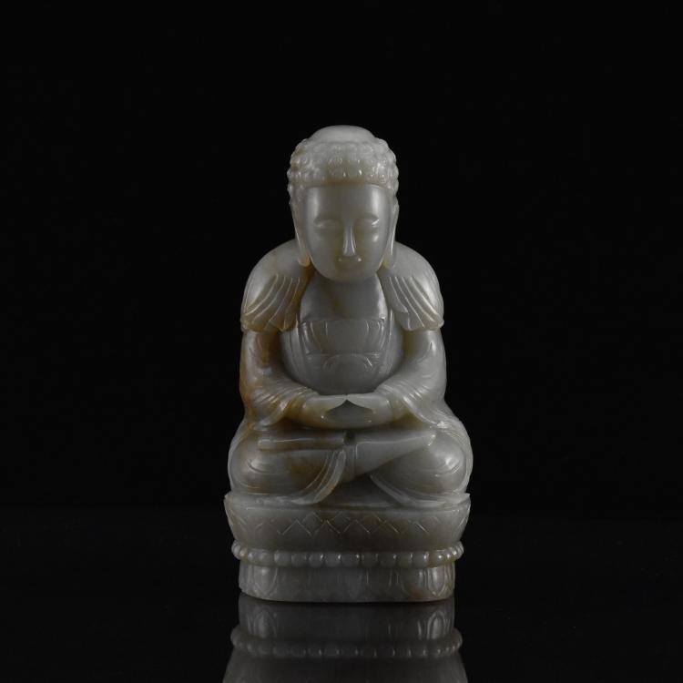 GRAYISH CELADON JADE CARVED BUDDHA