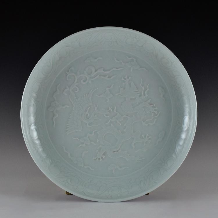 DRAGON AND PHOENIX SGRAFFIATO PORCELAIN CHARGER