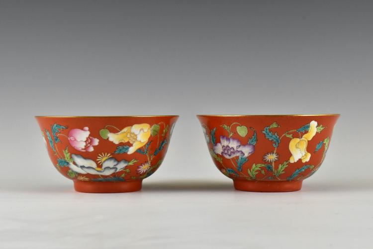 PAIR OF RED FAMILLE ROSE PEONIES BOWLS