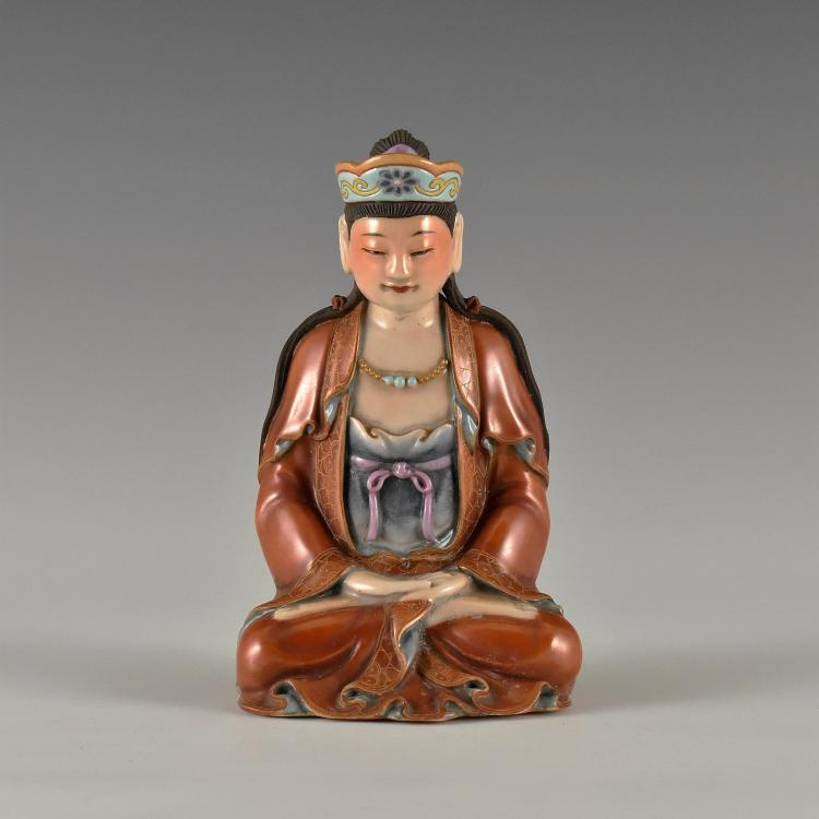 QING DYNASTY FAMILLE ROSE PORCELAIN BUDDHA