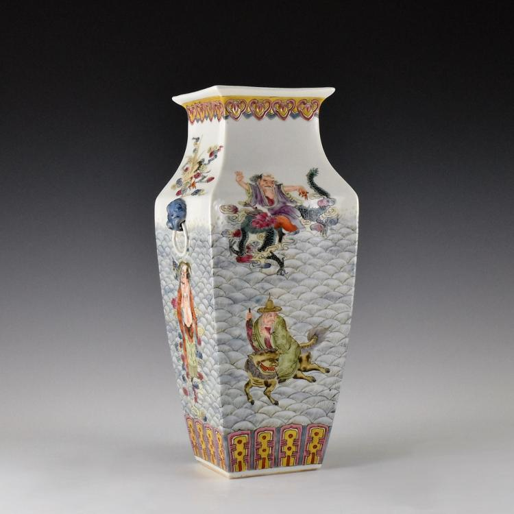 FINE FAMILLE ROSE EIGHT IMMORTALS VASE