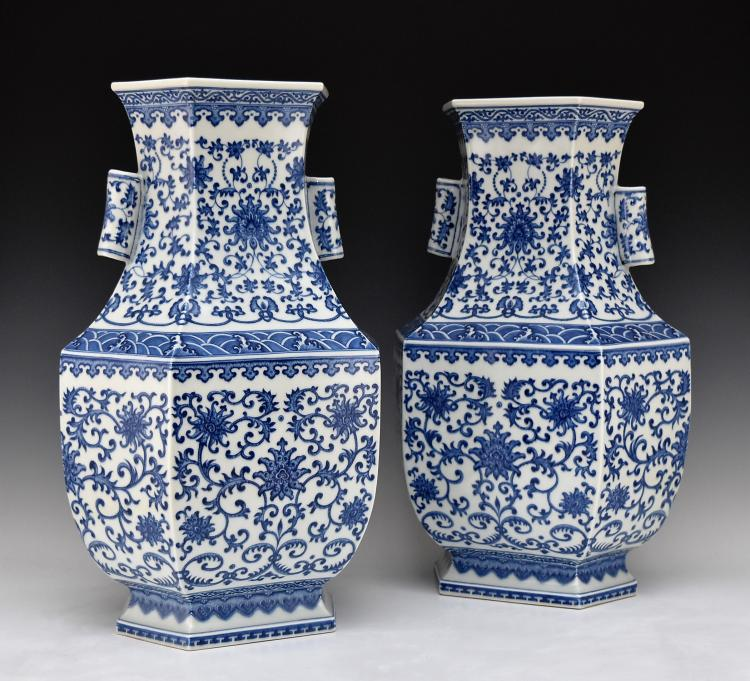 PAIR OF LARGE BLUE & WHITE HEXAGONAL BALUSTER VASES
